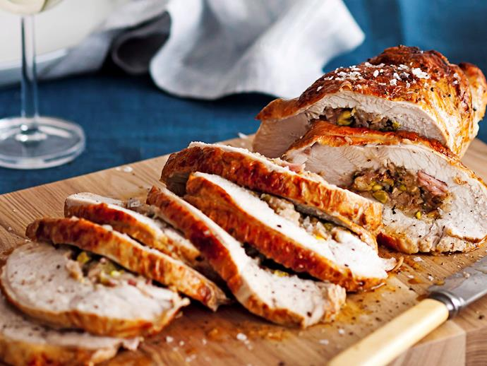"""This **[fig and pistachio stuffed turkey breast recipe](http://www.foodtolove.com.au/recipes/fig-and-pistachio-stuffed-turkey-breast-8527 target=""""_blank"""")** pairs sweet fruit and crunchy nuts with tender meat to create a memorable Christmas dish."""
