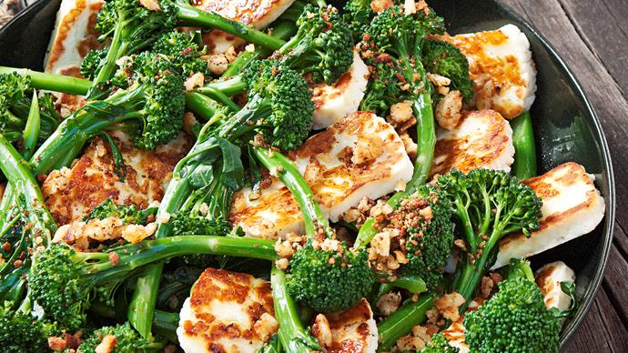 Haloumi, broccolini and lemon salad with gluten-free crumb