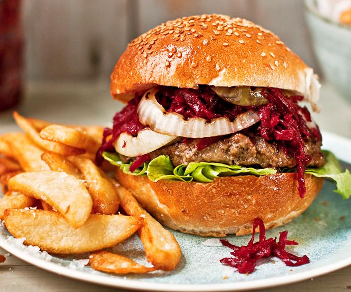 INSIDE-OUT CHEESE BURGERS WITH BEETROOT COMPOTE