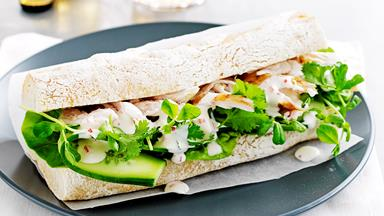 Lime chicken and coriander baguette with chilli dressing