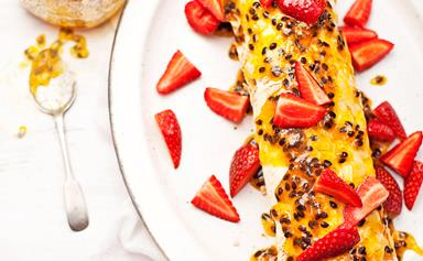 Pavlova roulade with passionfruit and lime syrup