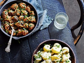 Pork, pear and cider meatballs with chive crushed potatoes