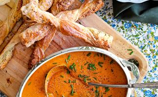 Roasted pumpkin and red capsicum soup with fennel twists