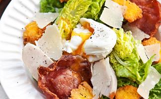 Smoked chicken caesar salad with polenta croutons