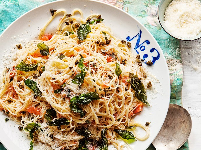 """[Tomato, basil and crispy caper angel hair](https://www.womensweeklyfood.com.au/recipes/tomato-basil-and-crispy-caper-angel-hair-22494