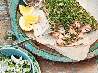 Tahini and tabouli salmon with chunky tzatziki salad