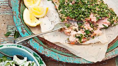 Tahini and tabouli salmon with chunky tzatziki salad