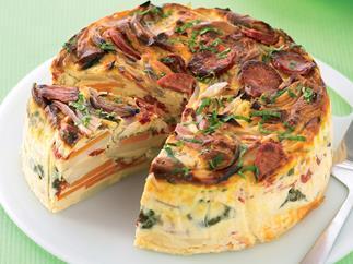 Potato, Chorizo and Spinach Bake