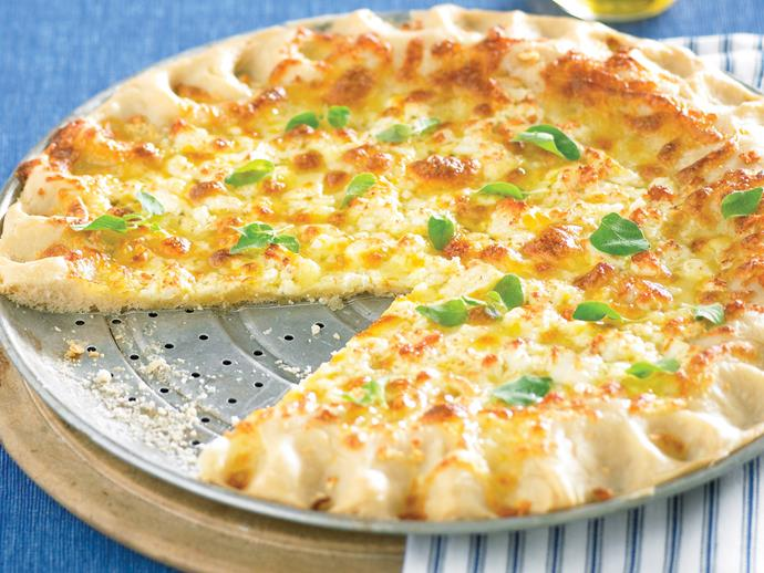 """**[Garlic cheese pizza](https://www.womensweeklyfood.com.au/recipes/garlic-cheese-pizza-28443