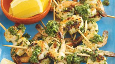 Chimichurri prawn skewers