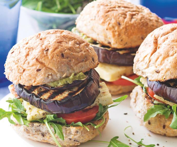 Char-grilled Eggplant, Haloumi and Pesto Burgers