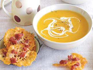 Parsnip and swede soup with parmesan crisps