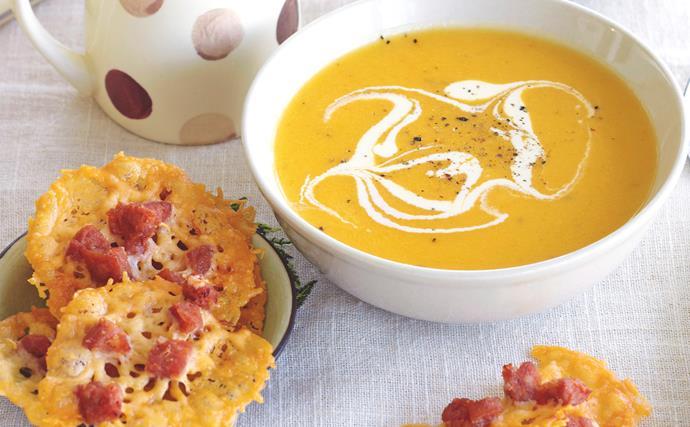 Parsnip and swede soup with parmesan crisps