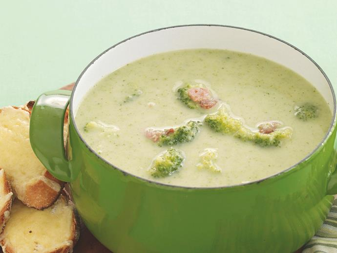 "**[Bacon and broccoli soup](https://www.womensweeklyfood.com.au/recipes/bacon-and-broccoli-soup-21285|target=""_blank"")**"