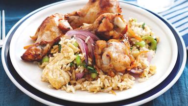 Lemon chicken with fried rice