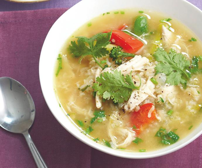 Asian chicken and rice soup