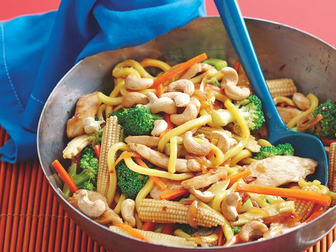 """**[Chicken, noodle and cashew stir-fry](https://www.womensweeklyfood.com.au/recipes/chicken-noodle-and-cashew-stir-fry-20983