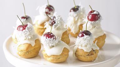 Cherry profiteroles