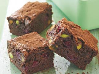 Chocolate, Raspberry and Pistachio Brownies