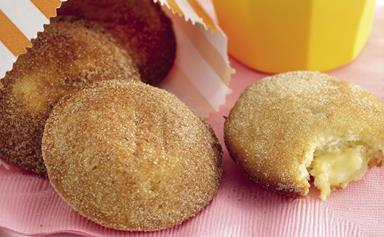 Apple, custard and cinnamon donut cakes