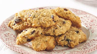 Oat, cranberry and white choc chip cookies