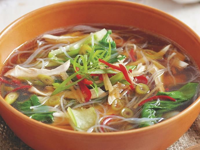 "**[Asian chicken noodle soup](https://www.womensweeklyfood.com.au/recipes/asian-chicken-noodle-soup-26320|target=""_blank"")**  Bursting with flavour, this fragrant ginger and soy spiced broth is delicious with thin vermicelli noodles and shredded poached chicken."