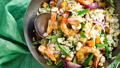 Green curry prawn, basil and cashew fried rice