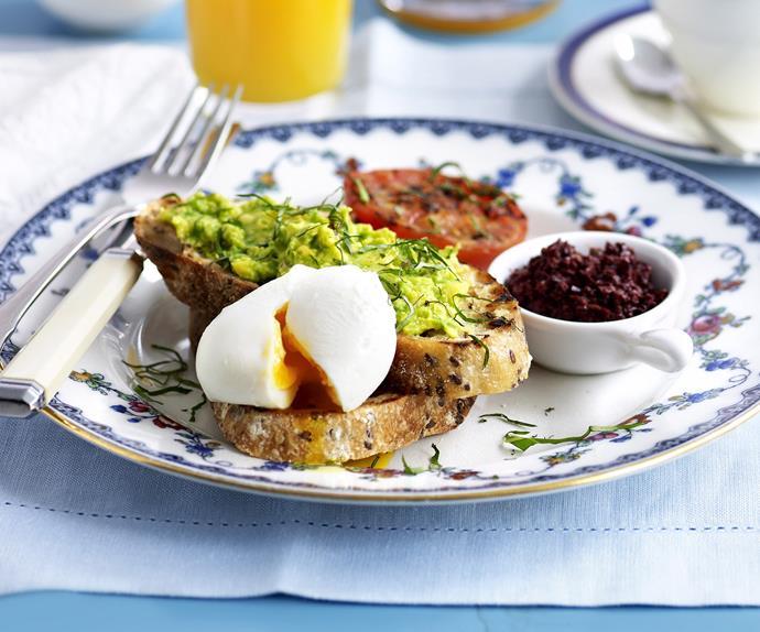 avocado mash on toast with poached egg