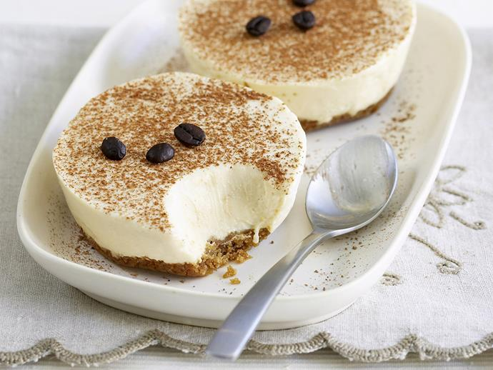"**[Coffee cheesecakes](https://www.womensweeklyfood.com.au/recipes/coffee-cheesecakes-26407|target=""_blank"")**  Coffee lovers will enjoy making these creamy no-cook cheesecakes. They take no time at all and can be made ahead and stored in the fridge until needed."