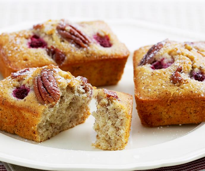 hazelnut, pecan and raspberry friands
