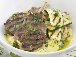lamb cutlets with creamy polenta and parsley oil