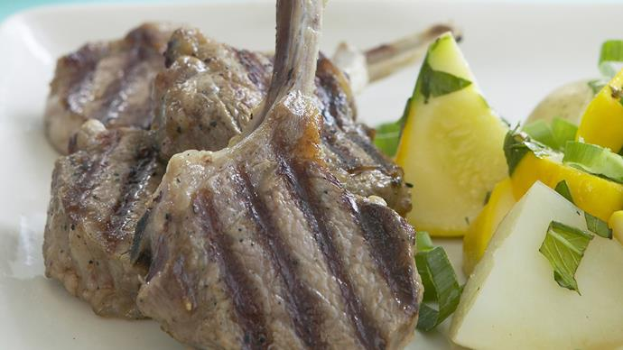 lamb cutlets with minty squash and potatoes