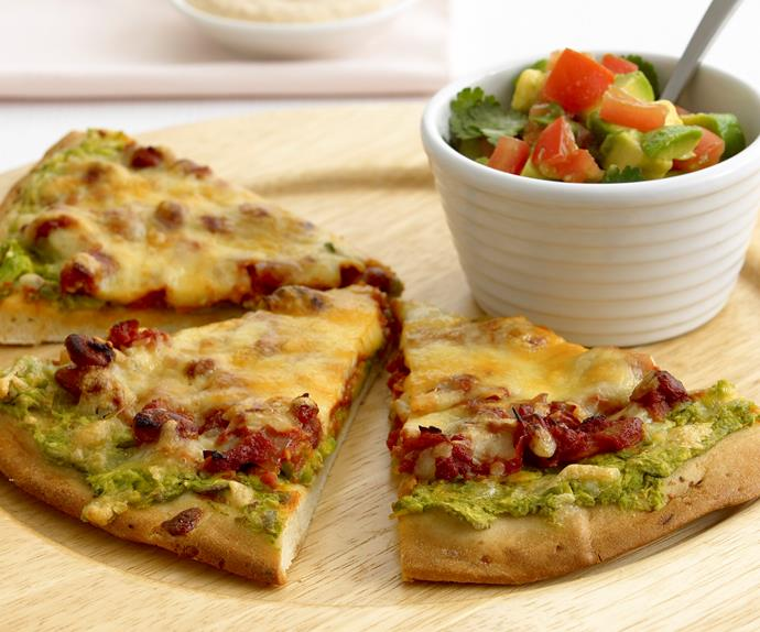 Mexican pizza with avocado salsa
