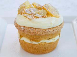 mini sponge cakes with cream and praline