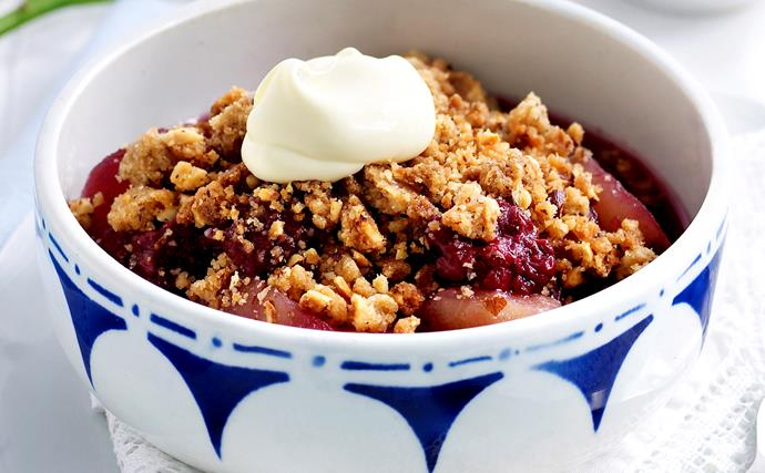 mixed berry and apple crumble