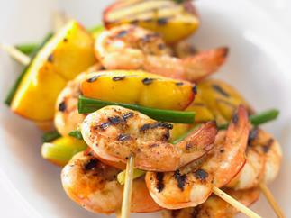 prawn and peach kebabs