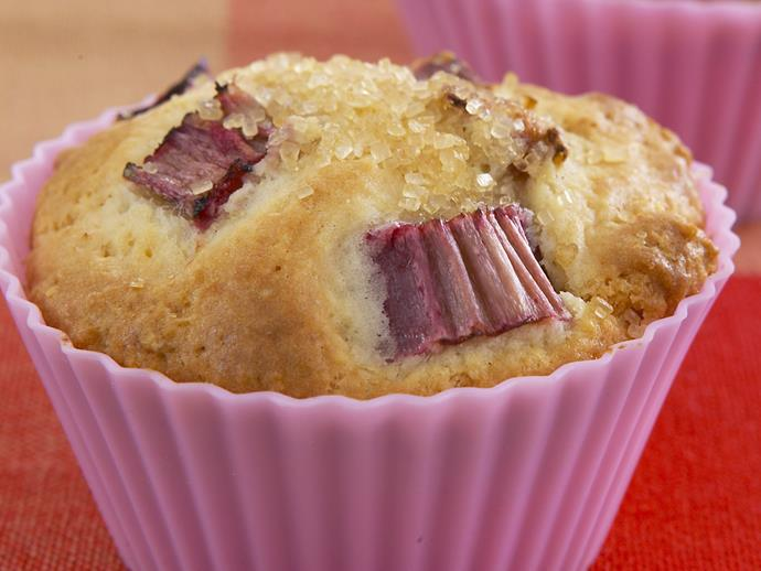 """**[Rhubarb and custard muffins](https://www.womensweeklyfood.com.au/recipes/rhubarb-and-custard-muffins-26465