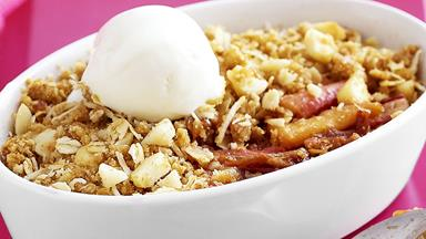 Rhubarb, pear and apple crumble