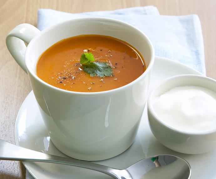 roasted kumara and pumpkin soup