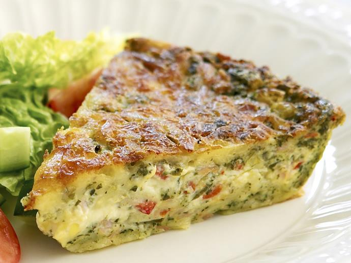 "**[Cheese, ham and spinach impossible pie](https://www.womensweeklyfood.com.au/recipes/cheese-ham-and-spinach-impossible-pie-19250|target=""_blank"")**  This delicious savoury pie is extremely easy to make -simply mix all ingredients together and bake. It's great enjoyed fresh out of the oven with a side salad, or cut up and chilled for school or work lunches."