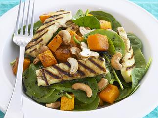 spinach, pumpkin and haloumi salad