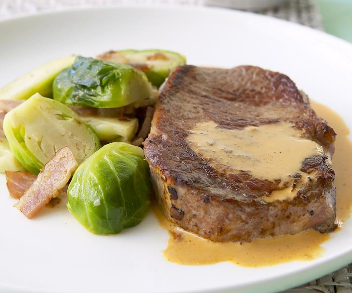 Steak with sauteed brussels sprouts