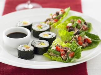 sushi rolls with smoked salmon and avocado