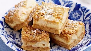 Apple cheesecake strudel slice