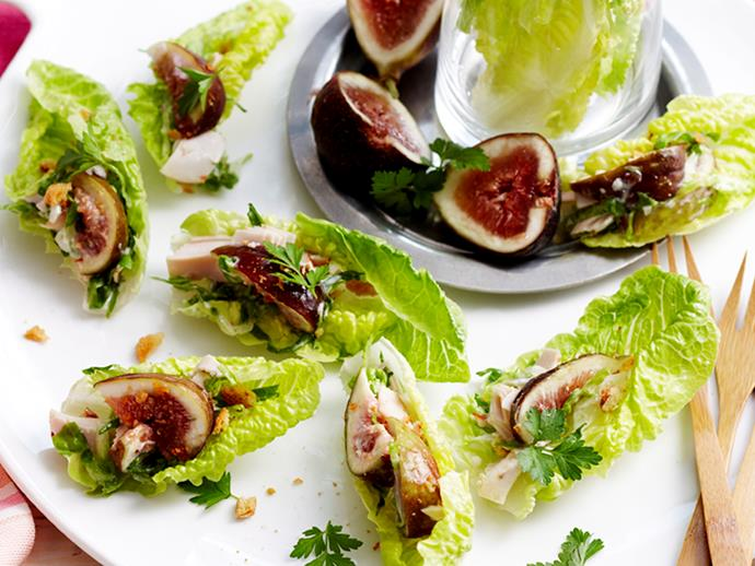 "**[Caesar and fig lettuce bites](http://www.foodtolove.com.au/recipes/caesar-and-fig-lettuce-bites-11855|target=""_blank"")**: Fresh figs look stunning atop crunchy lettuce leaves, and drizzled with a creamy mayonnaise dressing, they won't last long!"