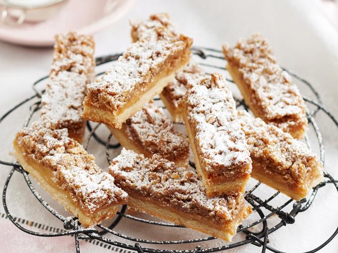 "**[Caramel streusel slice](https://www.womensweeklyfood.com.au/recipes/caramel-streusel-slice-18910|target=""_blank"")**"