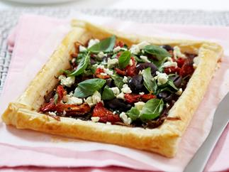 Caramelised onion and spinach tart