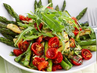 Char-grilled asparagus, zucchini and haloumi salad