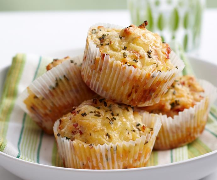 Cheesy ham and pineapple muffins