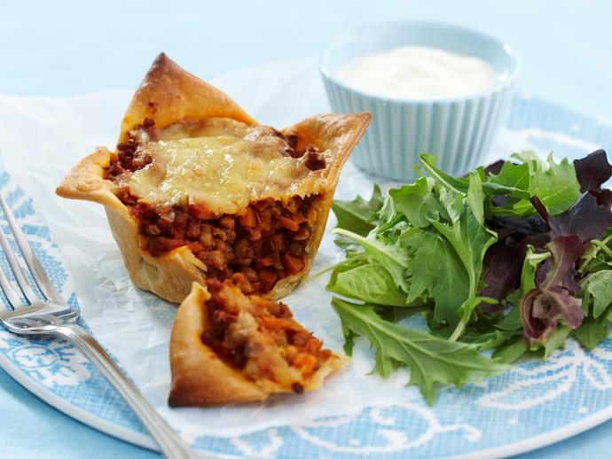 "These [cheesy lentil pies](https://www.womensweeklyfood.com.au/recipes/cheesy-lentil-pies-18937|target=""_blank"") will satisfy your meat-free cravings while packing a flavourful punch. Full of protein and vegetable goodness, they're also perfect for little hands."